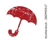 red grunge umbrella logo on a...