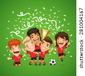 happy soccer champions with... | Shutterstock .eps vector #281004167