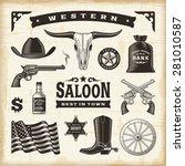 vintage western set. editable... | Shutterstock .eps vector #281010587