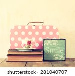 stack of old suitcase  books... | Shutterstock . vector #281040707