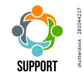support. group of 4 people... | Shutterstock .eps vector #281044217