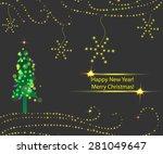 card with christmas tree.