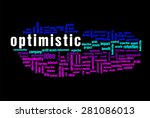 optimistic word on cloud... | Shutterstock . vector #281086013