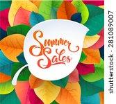 summer sale poster leaves... | Shutterstock .eps vector #281089007