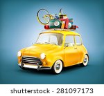 retro car with luggage. unusual ... | Shutterstock . vector #281097173