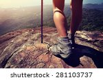young woman hiker legs on... | Shutterstock . vector #281103737