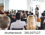 speaker giving a talk at... | Shutterstock . vector #281107127