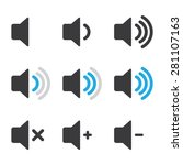 audio speaker volume icons | Shutterstock .eps vector #281107163