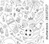 summer beach seamless pattern   Shutterstock .eps vector #281107217