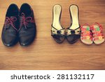 three pairs of shoes  men ... | Shutterstock . vector #281132117