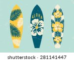 surfboards with tropical design ... | Shutterstock .eps vector #281141447