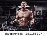 muscular man with dumbbells in... | Shutterstock . vector #281155127
