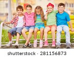 group of friendly kids sitting... | Shutterstock . vector #281156873