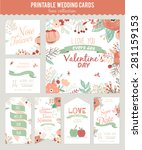vintage romantic floral save... | Shutterstock .eps vector #281159153