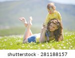 happy family on nature walks in ... | Shutterstock . vector #281188157
