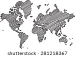 freehand world map sketch on... | Shutterstock .eps vector #281218367