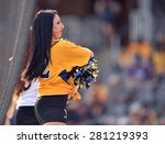 Small photo of MORGANTOWN, WV - MAY 2: A WVU dance team member performs between innings of a Big 12 conference baseball game May 2, 2015 in Morgantown, WV.