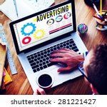 Small photo of Advertise Advertising Advertisement Branding Concept