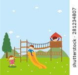 kids playing outside.... | Shutterstock .eps vector #281234807