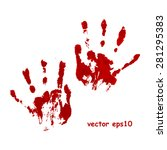Bloody Hand Print   Vector...