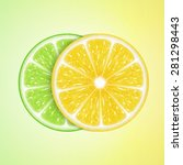 background with lemon and lime... | Shutterstock .eps vector #281298443