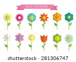 Paper Trendy Flat Flower Set...
