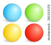 four colored spheres on white... | Shutterstock .eps vector #281315153
