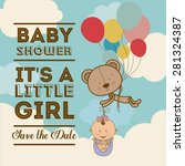 baby shower  design over blue... | Shutterstock .eps vector #281324387