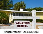 a vacation rental sign in front ... | Shutterstock . vector #281330303