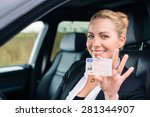 woman showing her driving... | Shutterstock . vector #281344907