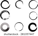set of vector grunge circle... | Shutterstock .eps vector #281357447
