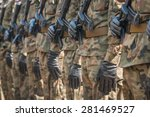 army parade   armed soldiers in ... | Shutterstock . vector #281469527