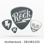 set of guitar picks designs.... | Shutterstock .eps vector #281481233