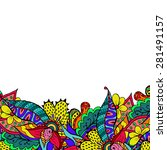 colorful doodle floral border.... | Shutterstock . vector #281491157