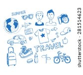 set of sketch travel vector...