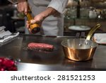 chef cooking wagyu beef in... | Shutterstock . vector #281521253