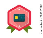 credit card flat icon with long ...
