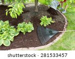 man spreading mulch in the... | Shutterstock . vector #281533457