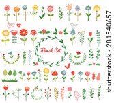 set of cute flowers. hand drawn ... | Shutterstock .eps vector #281540657