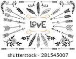 hand drawn vintage arrows ... | Shutterstock .eps vector #281545007