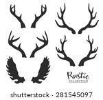 hand drawn vintage antlers.... | Shutterstock .eps vector #281545097