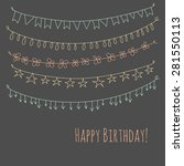 happy birthday hipster greeting ... | Shutterstock .eps vector #281550113