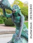 Small photo of HAMBURG, GERMANY - MAY 04. Nereid sculpture of the Stuhlmannbrunnen in the Hamburg district Altona on May 04, 2015. The fountain, built 1900 is one of the famous landmarks in the borough of Altona.