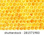watercolor honeycomb over white ... | Shutterstock .eps vector #281571983