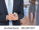 businessman texting with... | Shutterstock . vector #281587307