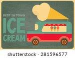 ice cream retro poster in flat... | Shutterstock .eps vector #281596577