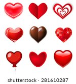 red  glass  chocolate hearts | Shutterstock .eps vector #281610287