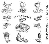 vector set of healthy snacks.... | Shutterstock .eps vector #281619737