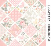 seamless patchwork pattern with ... | Shutterstock .eps vector #281624447