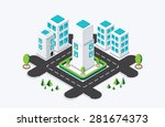 isometric city building. vector ... | Shutterstock .eps vector #281674373